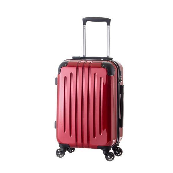 軽量スーツケース/キャリーバッグ 〔レッド〕 61L 3.8kg ファスナー 大型キャスター TSAロック〔沖縄離島発送不可〕