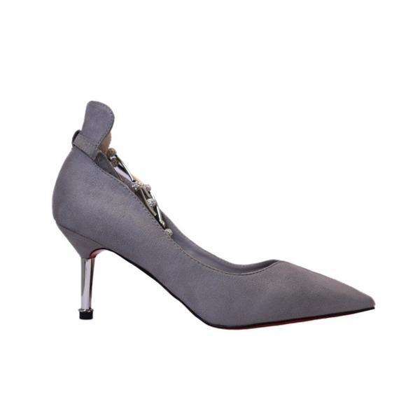 〔フーレエル〕(K6102)アンクレット風パンプス 足が綺麗に見えるカットデザイン 24.5cm グレー〔沖縄離島発送不可〕