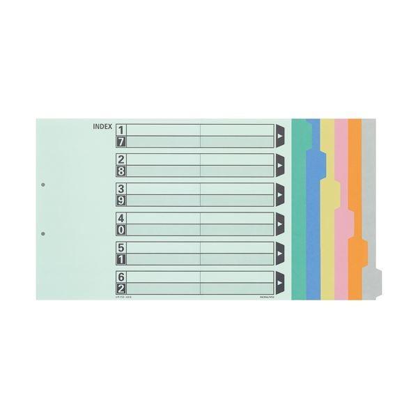カラー仕切カード A3-E 2穴(6山見出し+扉紙=1組) 10組 〔×10セット〕〔沖縄離島発送不可〕