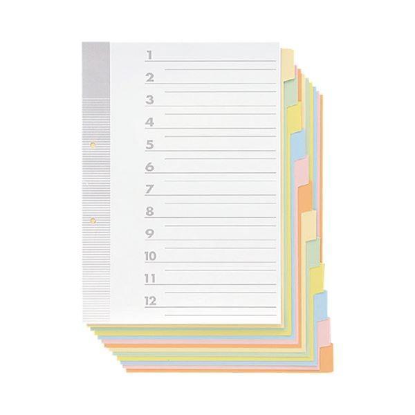 (まとめ) TANOSEE 見出しカード A4タテ 2穴 6色12山+扉紙 1パック(5組) 〔×30セット〕〔沖縄離島発送不可〕