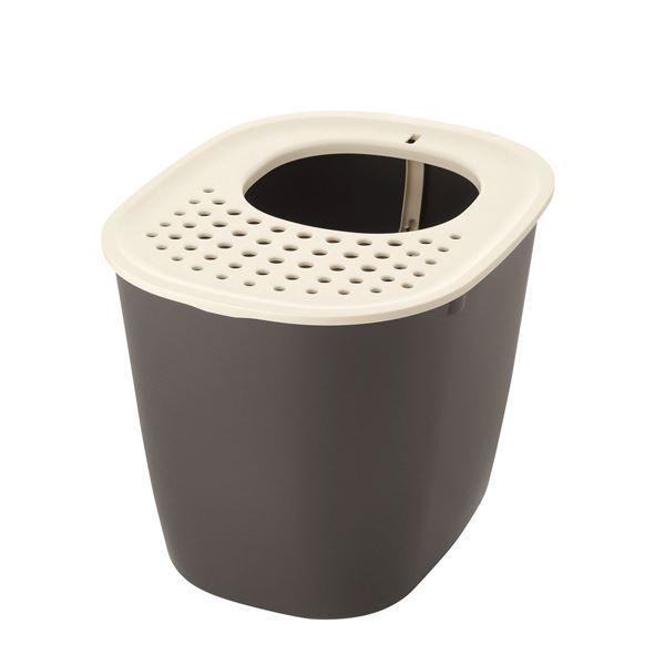 (まとめ)ラプレ 砂取りネコトイレ ダークグレー (ペット用品) (×2セット)