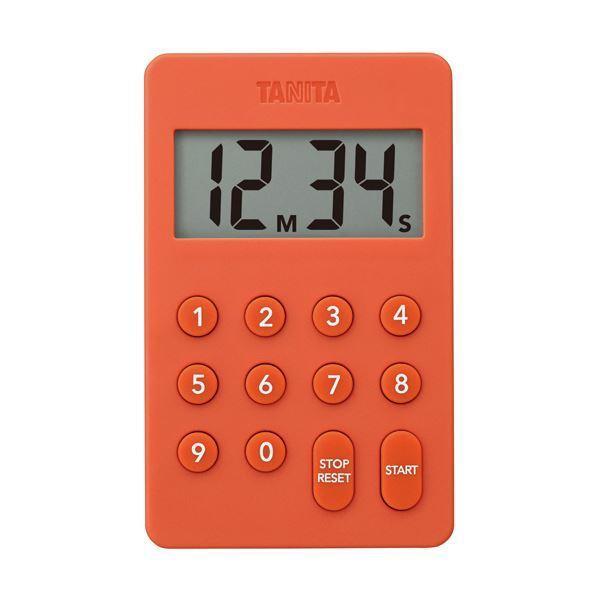 (まとめ)タニタ デジタルタイマー100分計オレンジ TD-415-OR 1個〔×5セット〕〔沖縄離島発送不可〕