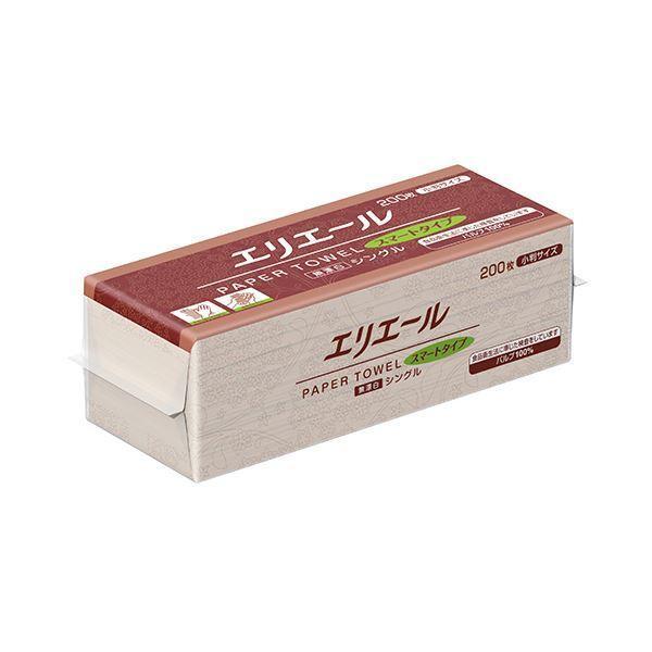 (まとめ)大王製紙 エリエールペーパータオルスマートタイプ 無漂白シングル 小判 200枚 1パック〔×50セット〕
