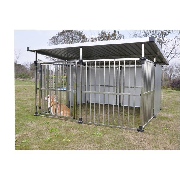 ドッグハウス DFS-M2 (1坪タイプ屋外用犬小屋) 大型犬 犬小屋 ステンレス製 組立品〔代引不可〕〔沖縄離島発送不可〕