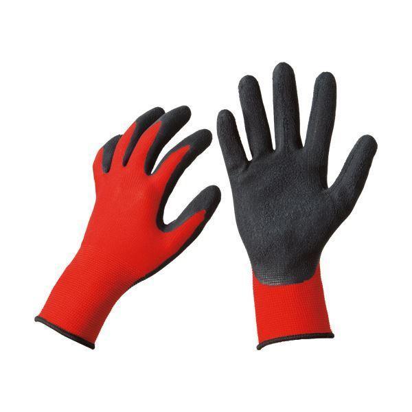 (まとめ)TANOSEE 天然ゴム背抜き手袋 L レッド 1パック(10双) 〔×3セット〕
