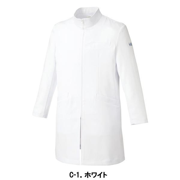 医療 ドクターコート 白衣 診察衣 メンズ ハーフ丈 長袖 MK-0013|uniform-japan|02