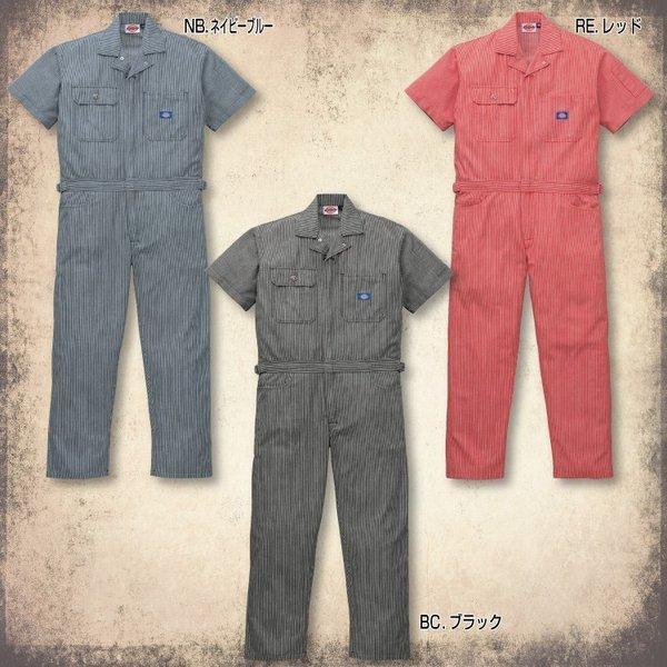 送料無料 ディッキーズ 半袖 つなぎ 続服 作業服 21-811 男性用 メンズ 綿100% Dickies  S〜5L ストライプ|uniform-net-shop|02