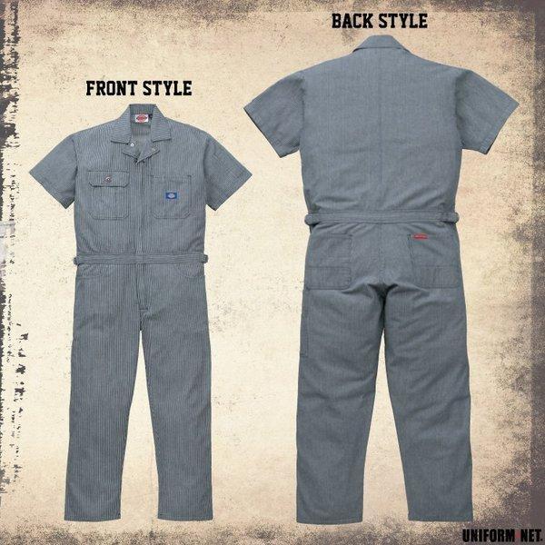 送料無料 ディッキーズ 半袖 つなぎ 続服 作業服 21-811 男性用 メンズ 綿100% Dickies  S〜5L ストライプ|uniform-net-shop|03