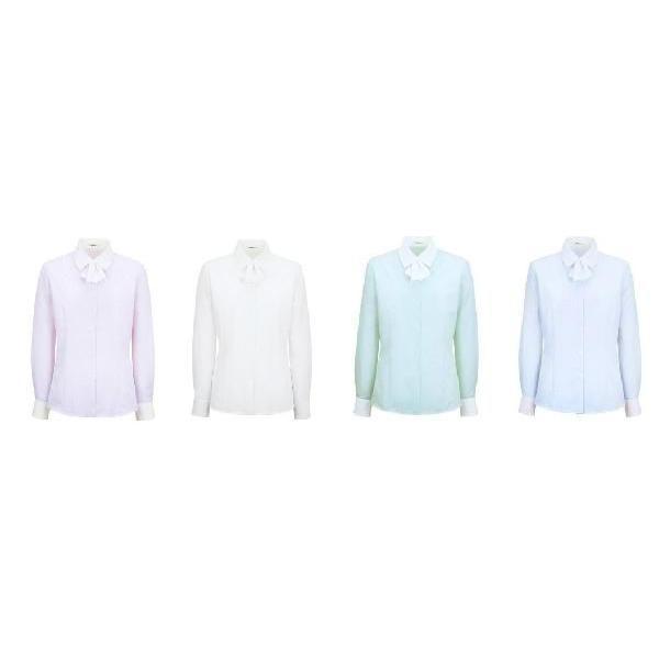事務服 ブラウス 長袖 取り外し可能なリボン付き (制服におすすめ) 7号-15号|uniform100ka|02