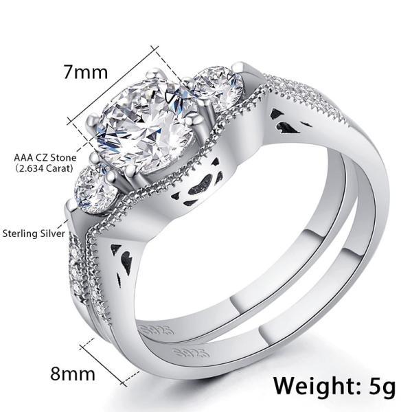 レディース リング 指輪 プリンセス カット キュービック ジルコニア バンド 925 スターリング シルバー 2.6-7.1 カラット