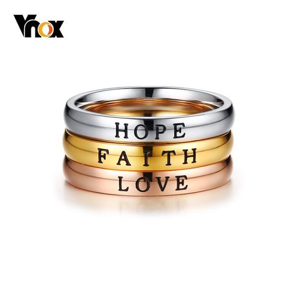 レディース リング 指輪 ジュエリーセット 3個セット HOPE LOVE 3 トーン ステンレス ベスト フレンズ