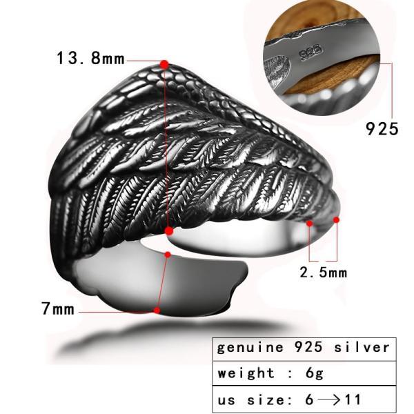 レディース リング 指輪 925 シルバー メンズ 鷲 イーグル ウィング フェザー レトロ ブラック スターリング