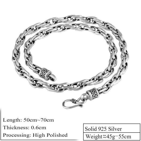レディース ネックレス 925 スターリング シルバー メンズ 幅 6mm 70cm ハンドメイド 水 ねじれ チェーン
