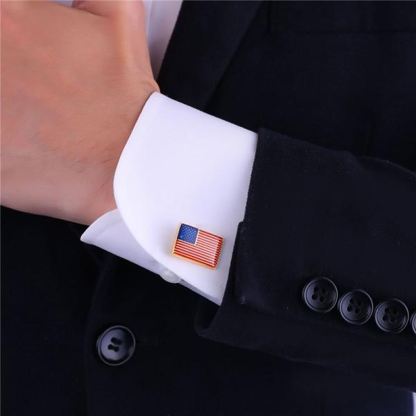 メンズ カフス 旗 USA 4 カラー スーツ カフ リンク ボタン