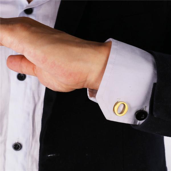 メンズ カフス 名前 シルバー カラー アルファベット 文字 ボタン