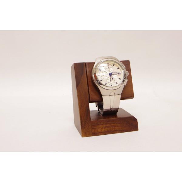 """ユニゾン木製腕時計スタンドモデル4""""レスト&ディスプレイ""""チークウッドナチュラル仕上げ"""