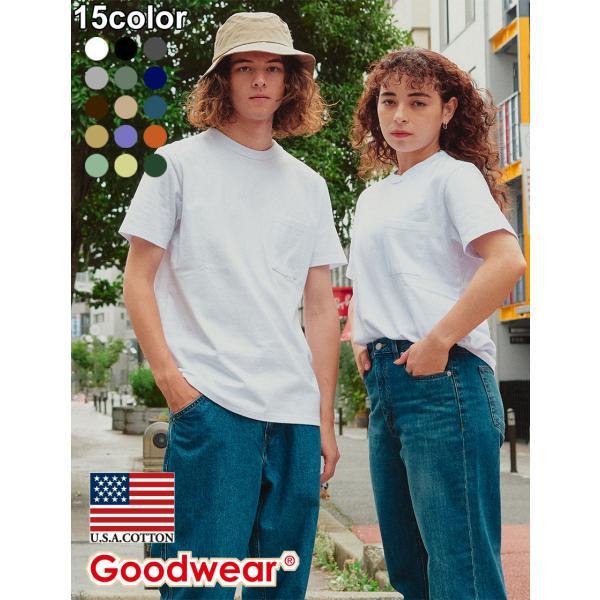 Tシャツ メンズ レディース 7オンス Goodwear USAコットン 無地 ポケット ポケT