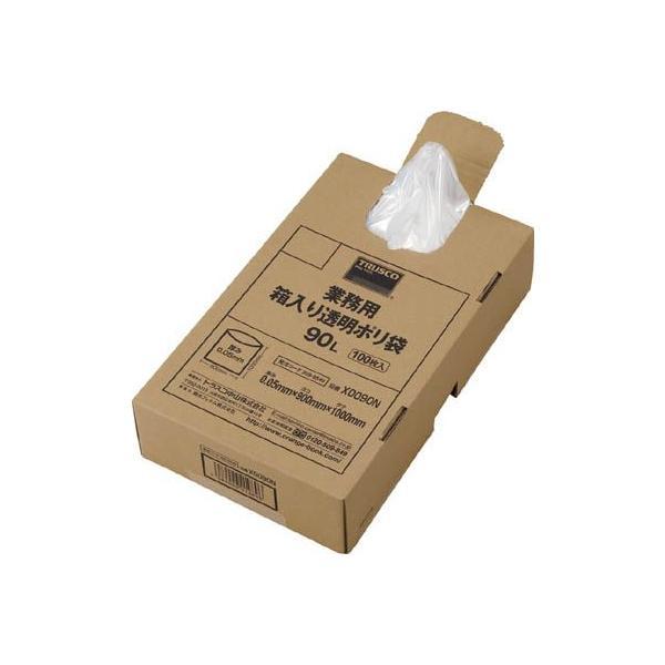 (ゴミ袋 ビニール袋 ポリ袋)トラスコ 業務用ポリ袋 透明 箱入り 0.05X90L 100枚入 X0090N
