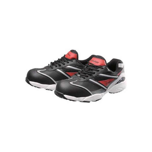 (作業靴 安全靴 保護靴)シモン Simon プロテクティブスニーカー KA211黒/赤 22.5cm  KA211BK/RED-22.5