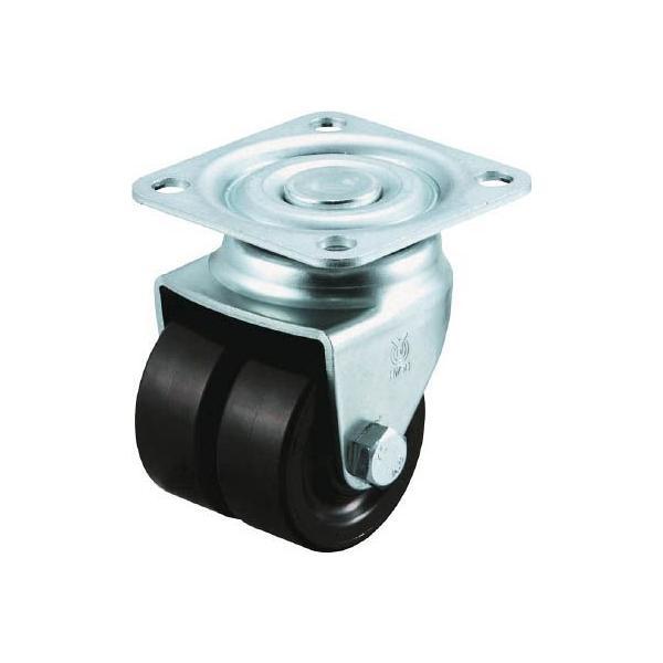(低床式 キャスター 車輪)ユーエイキャスター 重量用双輪キャスター 自在車 38径 黒ナイロン車輪  HG-38BN-W
