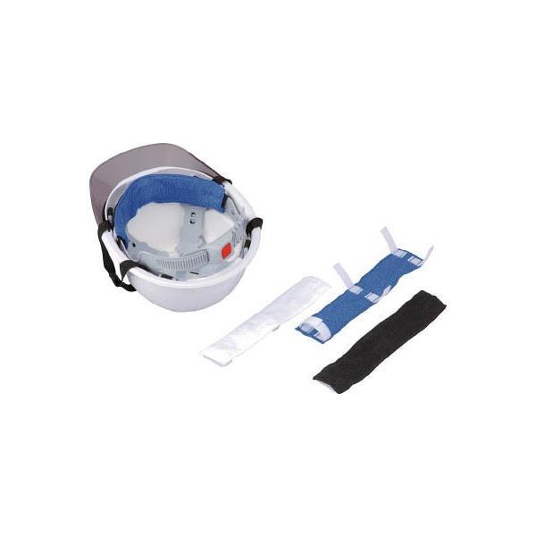(暑さ対策用品)トーヨーセフティ ヘルメット取付式汗取りデコパット 青 タオル地  NO.67-BU