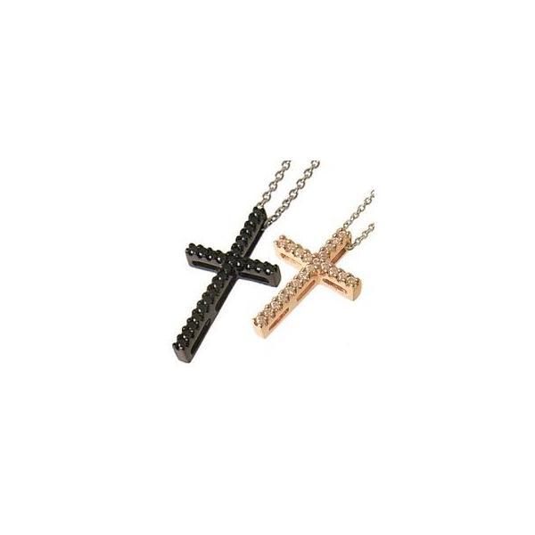 ペアネックレス ペアアクセサリー メンズ&レディース ラインクロスペアネックレス(ピンクゴールド、ブラック)