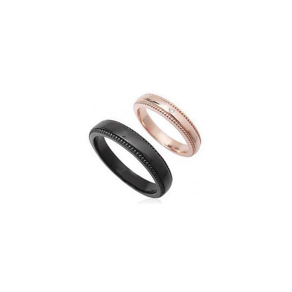 ペアリング ペアジュエリー 刻印 シルバー シンプルライン ダイヤモンドペアリング ピンク ブラック