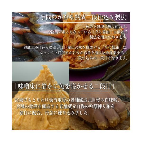 高級西京漬けと豚味噌漬け ギフト 送料無料 吟醤漬「寒さわらと銀さけ」|uoryu|13