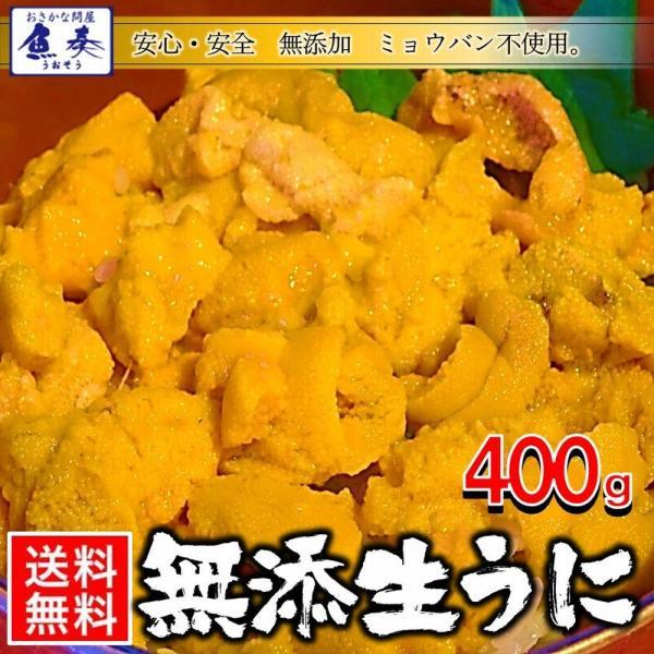 うに 雲丹  冷凍生うに 無添加 400g(100g×4P)ミョウバン不使用 ウニ 送料無料 安心・安全 うに丼8杯分 寿司 北海丼