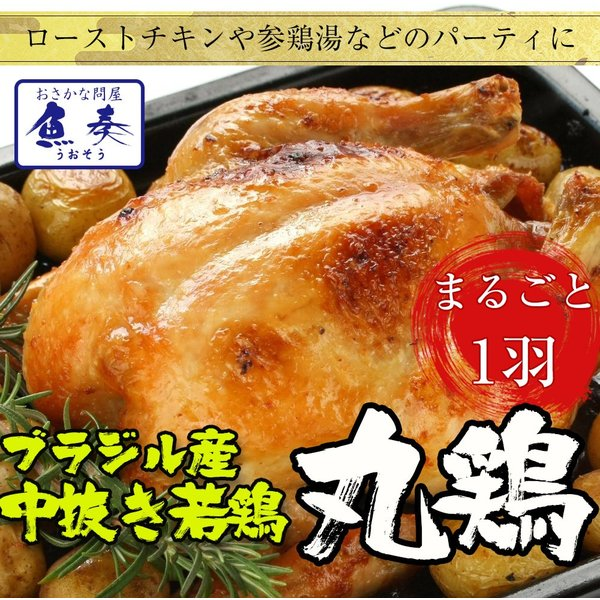 丸鶏 とり 冷凍 ブラジル産 1.0-1.1kg 業務用/徳用 最安値 ローストチキン お中元 若鶏 参鶏湯 クリスマス ハロウィン 同梱推奨