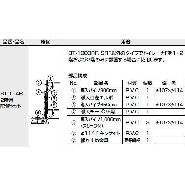 INAX LIXIL・リクシル トイレ 簡易水洗便器 トイレーナ 専用便槽部品 無臭便槽用 2階用配管セット BT-114R [新品]
