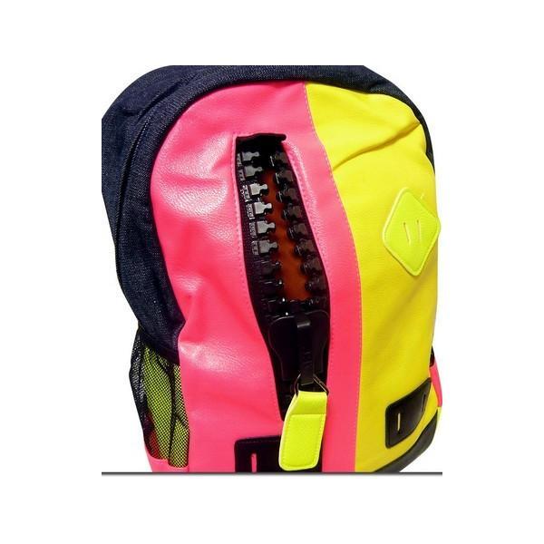 バッグ カラフルなネオンカラーで今季注目度大 非常に大きなメガジップファスナー付き切替えデイバッグ|update|03