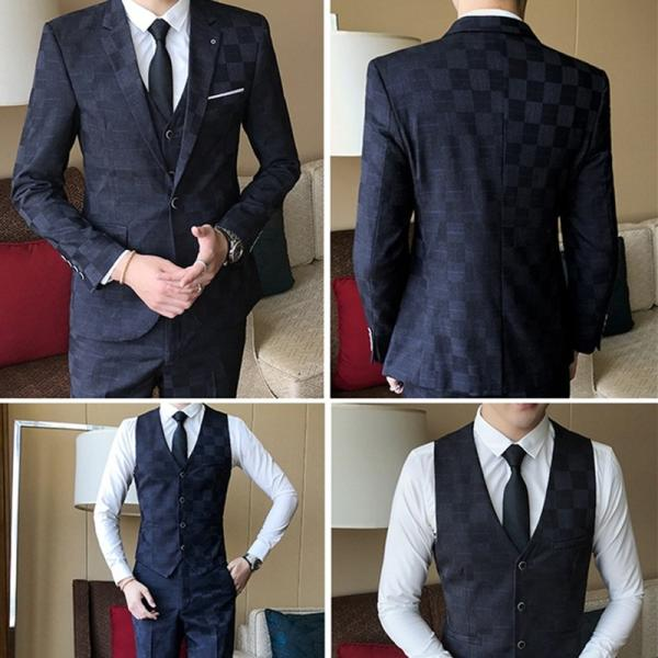 8629499338de7 ... メンズ 格子スーツ セットアップ 3Pセット チェック 上下セット イベント 結婚式 衣装 新郎 舞台 個性 ...