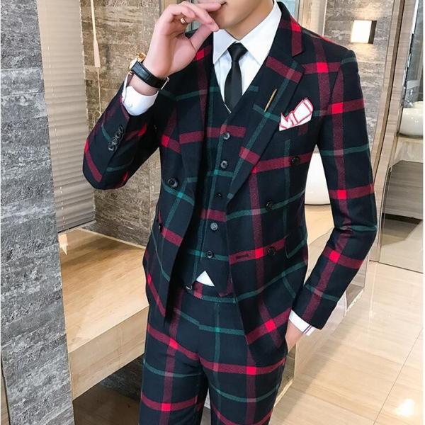 60bb1246ae8ef ... カラーライン格子 メンズ 3P セットアップ スーツ 上下セット 結婚式 衣装 新郎 舞台 個性的 ...