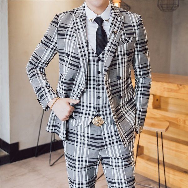 038f5b393400d ... カラー格子 メンズ 3P セットアップ スーツ 上下セット 結婚式 衣装 新郎 舞台 個性的 大人 ...