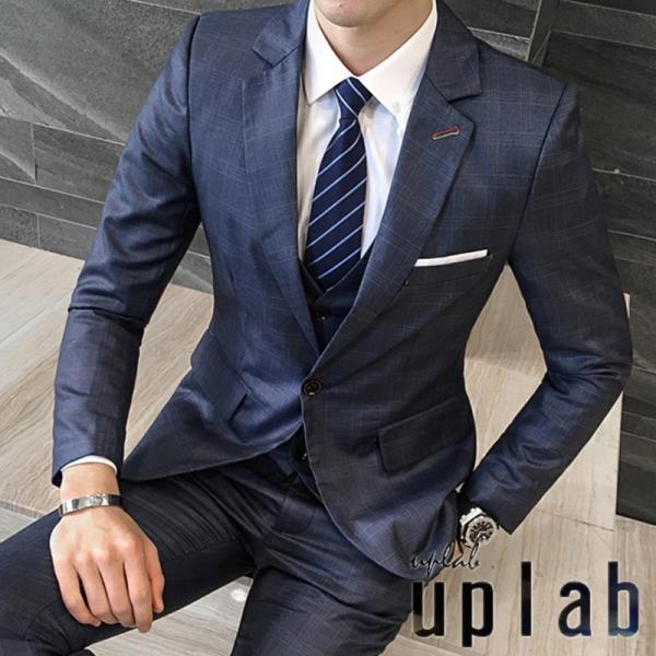 4038559321449 格子柄 光沢 メンズ 3P セットアップ スーツ 上下セット 男 結婚式 衣装 新郎 舞台 個性 ...