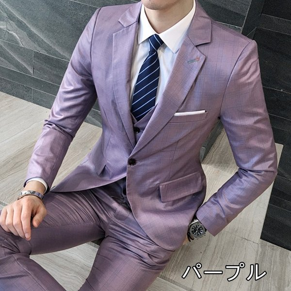 b9f2c815030b5 ... 格子柄 光沢 メンズ 3P セットアップ スーツ 上下セット 男 結婚式 衣装 新郎 舞台 個性 ...