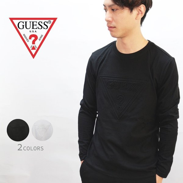 GUESS ゲス ロンT Tshirt エンボス加工ロゴロングTシャツ 長袖 メンズ レディース ユニセックス MI2K9409LS|upper-gate