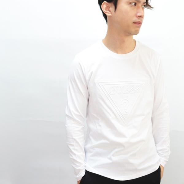 GUESS ゲス ロンT Tshirt エンボス加工ロゴロングTシャツ 長袖 メンズ レディース ユニセックス MI2K9409LS|upper-gate|10