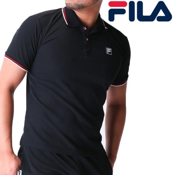 f3c13505cdb17a FILA ポロシャツ メッシュ 黒色 半袖 フィラ ワンポイント 刺繍 418305 トップス ドライ 即納 upsports ...