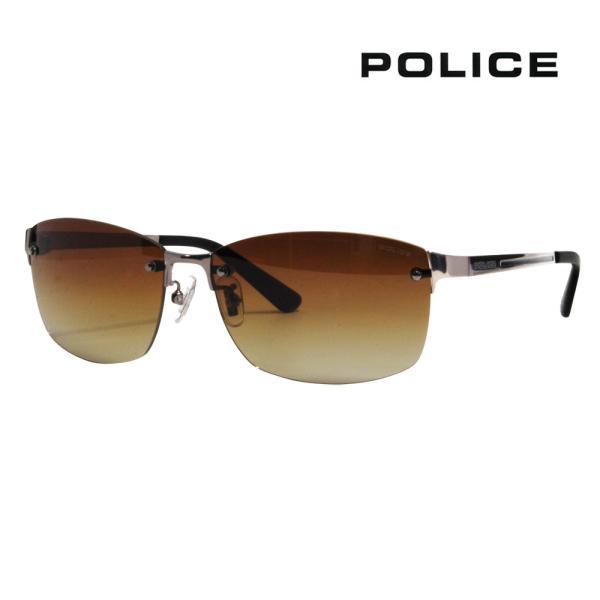 ポリス POLICE SPLA63J 568P 60 メガネフレーム サングラス チタン メタル リムレス ツーポイント 縁なし LANE 偏光レンズ ポラロイズド