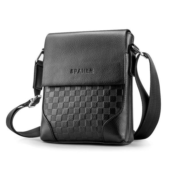 SPAHER メンズ カバン ショルダーバッグメンズ 革レザー 肩掛けバッグ 縦型 手提鞄 iPad収納かばん 紳士 ビジネス バッグ 防水 バッグ メンズ 2色 (ブラック-小|urtra-c-mall