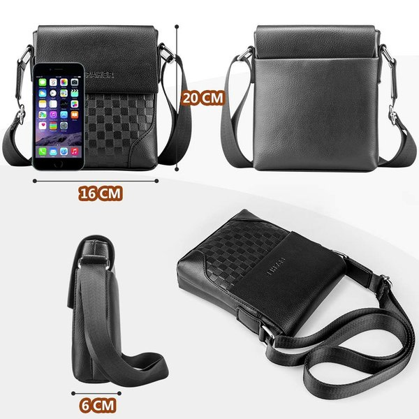 SPAHER メンズ カバン ショルダーバッグメンズ 革レザー 肩掛けバッグ 縦型 手提鞄 iPad収納かばん 紳士 ビジネス バッグ 防水 バッグ メンズ 2色 (ブラック-小|urtra-c-mall|02