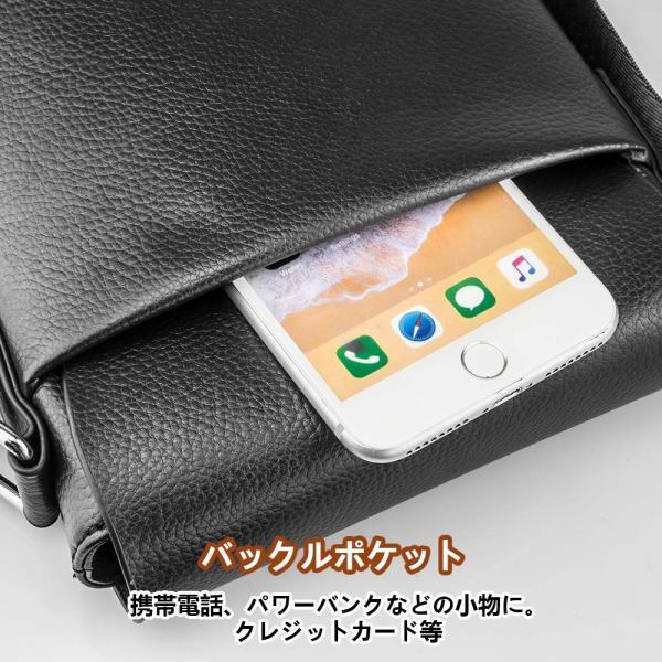 SPAHER メンズ カバン ショルダーバッグメンズ 革レザー 肩掛けバッグ 縦型 手提鞄 iPad収納かばん 紳士 ビジネス バッグ 防水 バッグ メンズ 2色 (ブラック-小|urtra-c-mall|05