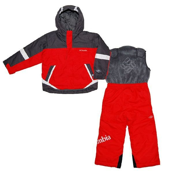 コロンビア Columbia レッドxグレースキーウェア上下2点セット 2-4歳用 男の子用グレー&赤アウトドアセットアップ防寒アウター キッズ用スノーボードウェア