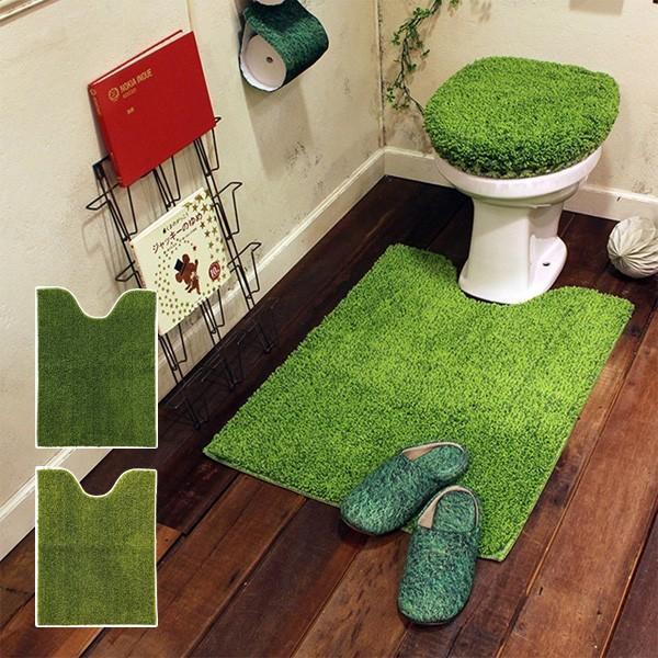 トイレラグ トイレマット 正方形 足元マット 緑 グリーン|usagi-shop