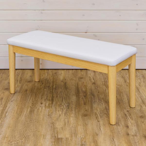 ダイニングベンチ 北欧 白 ホワイト レザー おしゃれ 椅子 室内用 ベンチ