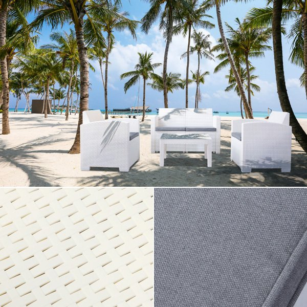 ガーデンテーブルセット 4点セット テーブル ガーデンチェア ソファ 2人掛け 二人掛け ホワイト 白 おしゃれ バルコニー テラス ベランダ リゾート風 南国風