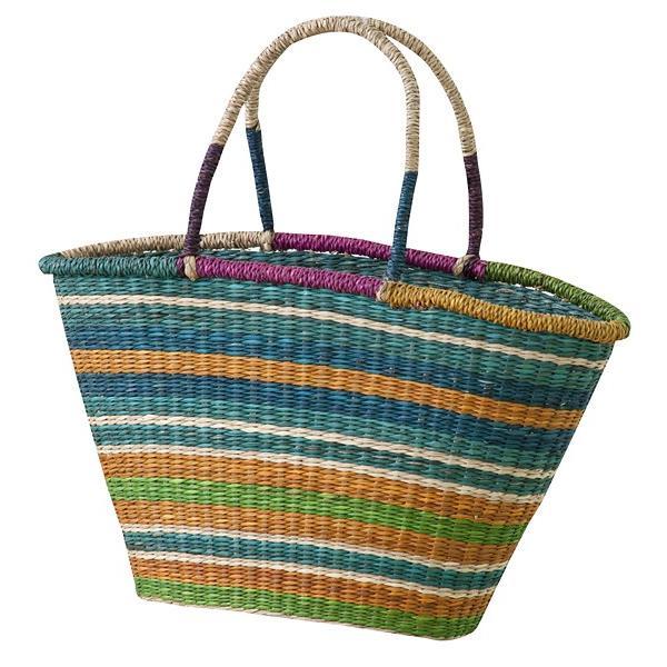 かごバッグ かごバック 籠バッグ 籠バック 篭バッグ 篭バック ストライプ カラフル おしゃれ シーグラスバッグ