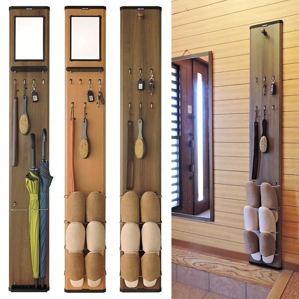 玄関収納 壁面 ドア 扉 ウォールラック 小物収納 傘たて 鏡 ミラー スリッパ立て